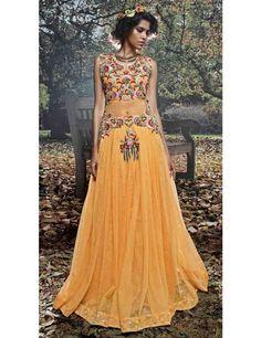 Flashy Yellow Net Designer Gown