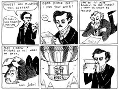 """Kate Beaton  """"This is the first of two Jules Verne cartoons, and admittedly, the sillier one. Someone give Poe some credit for influencing science fiction instead of always making parodies of The Raven, hey?"""""""