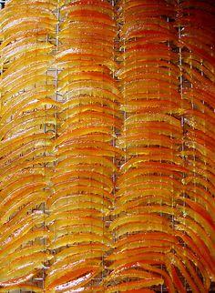 Candied Seville Orange Peels,then dip them in dark chocolate,my fav