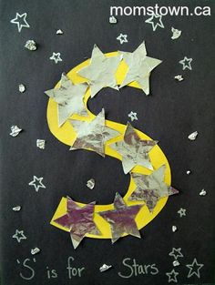 Little kids: Alphabet Craft: S is for Star Letter S Activities, Preschool Letter Crafts, Alphabet Letter Crafts, Abc Crafts, Letter Art, Preschool Activities, Letter Tracing, Space Theme Preschool, Alphabet Books