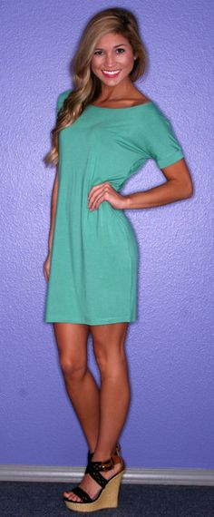 PIKO Tee Dress in Green - $32.00 I'm so short that might actually be long enough.