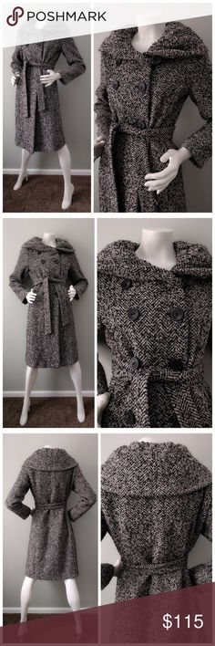 """CALVIN KLEIN Black Gray TWEED Funnel Neck Coat 6 S A modern spin on the classic tweed coat. Funnel shawl neck, double-breasted, tie belt. Slim silhouette perfect for business and everyday wear.  In excellent condition (9.9/10). No stains or major wear. Comes from a smoke-free home.  BUST: 40"""". SHOULDER: 15.5"""". SLEEVE: 24"""". LENGTH: 40.5"""". Calvin Klein Jackets & Coats"""