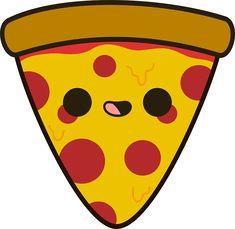 'Yummy pizza' Sticker by peppermintpopuk Cute Food Drawings, Cute Animal Drawings Kawaii, Cute Little Drawings, Cute Cartoon Drawings, Art Drawings For Kids, Arte Do Kawaii, Kawaii Art, Kawaii Doodles, Cute Doodles