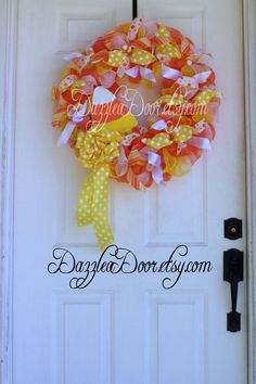 Candy Corn Deco Mesh Wreath Halloween Wreath Candy by DazzleaDoor