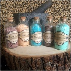 These bath salts are locally made with natural products and cruelty free essential oils. All bath salts have been tested personally and are blended with aromatherapy healing as well as soothing detoxification in mind Bath salts make a relaxing bath, can sooth sore and tired muscles and the aromatherapy aspect can heal the mind and body. ***Bath salts can be purchases in taster size bottles (approx. 1/3 cup), or purchased separately by the cup.*** Make sure to pick a scent that helps so...