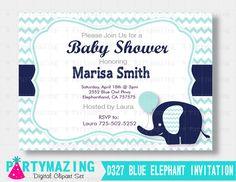 Elephant Printable Invitation Elephant Baby Shower by Partymazing