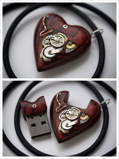 THIS. is. SOOO COOL! (I want one) Steampunk Tendencies | 32GB USB Heart Pendant by Artype New Group : . https://www.facebook.com/groups/steampunktendencies