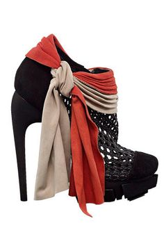 I'd break my neck tripping over the scarf detail if the heels didn't kill me first.