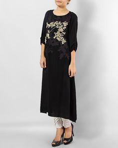 Buy Splendid Black Ladies Linen Kurti Online in reasonable price - Order now and save upto contact for additional details. Pakistani Long Kurtis, Kurti Collection, Black Magic, Desi, Style Me, Black Women, Cold Shoulder Dress, Elegant, Chic