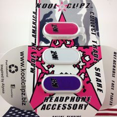 Simple 2.0 Kool Clipz a Clip for Headphones/Earbuds Pink/White/Purple #KoolClipz