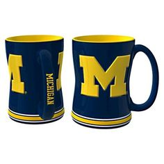 Boelter+Brands+NCAA+2+Pack+Michigan+Wolverines+Sculpted+Relief+Style+Coffee+Mug+-+Blue+(15+oz)