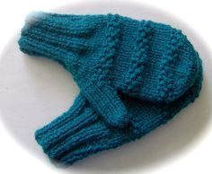 Child's Mittens Hand Knit Teal Small 34 years by lastrose on Etsy, $6.50