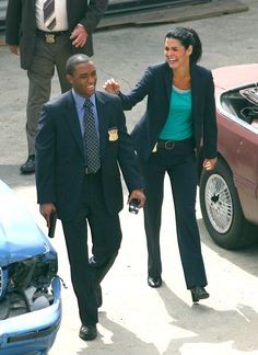 Angie Harmon - Angie Harmon and Lee Thompson Young On Set of Rizolli and Isles