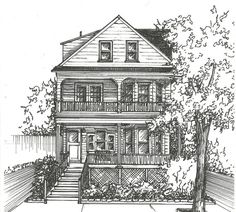 Commission an Original Ink House Drawing - Architectural sketch of home in black ink- Home portrait - Custom house drawing Dream House Drawing, House Sketch, Plan Sketch, Building Drawing, Architecture Sketches, Pictures To Draw, Drawing Sketches, Pencil Drawings, Drawing Pictures