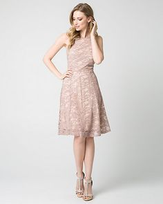 Lace Halter Party Dress - Intricate lace sculpts a party perfect dress topped with a classic halter neckline, and finished with a flawlessly pleated skater skirt. Blush Dresses, Grad Dresses, Summer Dresses, Formal Dresses, Party Gowns, Party Dress, Rose Quartz Serenity, Turquoise, My Style