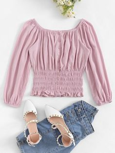 Casual Ruffle Plain Shirt Regular Fit Off the Shoulder Three Quarter Length Sleeve Pullovers Pink Crop Length Off The Shoulder Single-breasted Blouse Teen Fashion Outfits, Pink Outfits, Pink Fashion, Trendy Outfits, Cute Outfits, Indian Blouse Designs, Summer Outfits For Teens, Spring Shirts, Spring Blouses