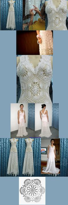 Free Patterns: Wedding dress m Crochet Wedding Dress Pattern, Crochet Wedding Dresses, Wedding Dress Patterns, Mode Crochet, Crochet Lace, Irish Crochet, Crochet Braids For Kids, Crochet Hat For Beginners, Doily Wedding