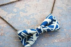 Bow Tie Necklace  Abstract Blue Waters Silk by jessamity on Etsy, $20.00