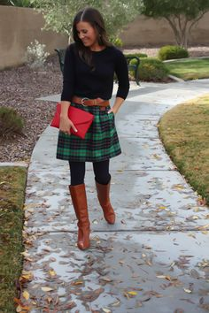 this blog has tons of outfits with skirts, boots, tights, and sweaters-- love it!