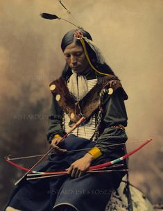 no560 This is an Incredible and Rare, Hand Colored, VINTAGE Photograph from the Late 1800s of an Oglala Sioux Council Chief with his bow and arrow. Would be wonderful as a framed print for your home, or for your arts & crafts projects such as journaling, scrapbooking, card making, altered art, fabric transfers, and more. Instant art!  Occasionally I add a framed image for you to see what it'd be like popped into a standard size (8X10 opening) frame! Frame not included.  This is an INSTAN...