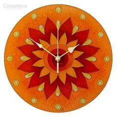 Egyedi, kézzel festet, üveg falióra, hangtalanul működő óraszerkezettel. Wall Clock Craft, Wall Clocks, Mandala Orange, Sunflower Wall Decor, Yoga Studio Decor, Thing 1, Yoga Gifts, Flower Mandala, Everyday Objects