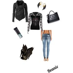 My leather & lace collection: A fashion look from December 2014 featuring MuuBaa jackets, Miss Me jeans and Roberto Cavalli ankle booties. Browse and shop related looks.