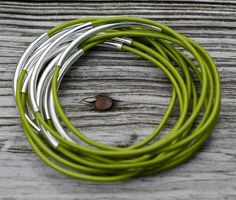 Leather Bangles Tender Shoots Set of 10 Leather by amyfine on Etsy