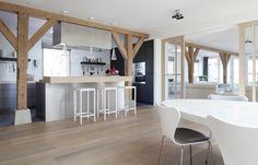 Remy Meijers, farmhouse in the green heart of Holland, dining room & kitchen   interiors