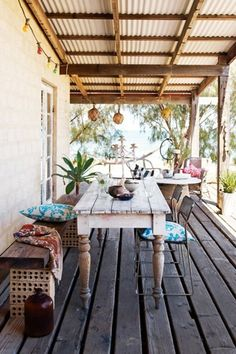 Use table under house for this - Boho Decor Patio Outdoor Decor, House, Cottage Style, Home, Outdoor Space, Outside Living, Outdoor Living, Beach Cottage Style, Surf Shack