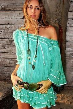 Free Spirit Fashion / #boho #dress ---Jen's Pirate Booty Janis Top in Seafoam
