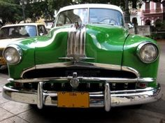 Image detail for -Front view of a green old car in the street of Havana Cuba Stock Photo ...