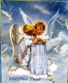 Angel Kisses Jigsaw Puzzle by Sandra Kuck 1000 Pieces White Mountain Made in USA #WhiteMountain