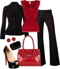 """Red and Black Workday"" by averbeek on Polyvore"