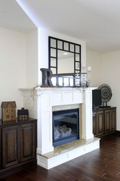 antique white fireplace with raised hearth