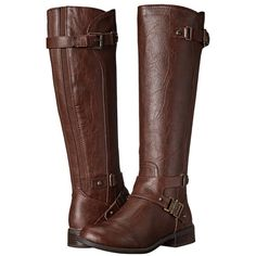 G by GUESS Hartsa Women's Pull-on Boots ($89) ❤ liked on Polyvore featuring shoes, boots, knee-high boots, small heel boots, low heel knee high boots, round cap, low heel boots and short heel boots