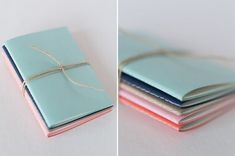 DIY Mini Notebooks Perfect to replace the note paper in my leather note book case Handmade Notebook, Handmade Books, Handmade Home, Small Notebook, Diy Notebook, Moleskine, Mini Albums, Papier Diy, Do It Yourself Inspiration