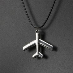 Silver Plane Pendant with Leather Chain Choker Necklace for Women & Girls Leather Statement Necklace Vintage bijouterie Jewelry