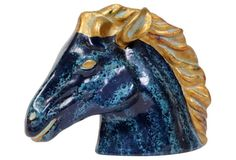 Aqua & Gold Midcentury Pottery Stallion
