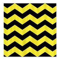 Black and Yellow Chevron Shower Curtain