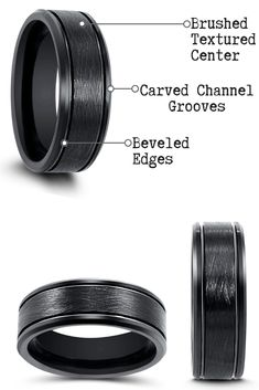 This wedding ring has unparalleled durability and can withstand just about anything. This black tungsten weddi Black Tungsten Rings, Tungsten Wedding Rings, Wedding Men, Wedding Bands, Black Wedding Rings, Engagement Rings For Men, Urban, Modern, Top