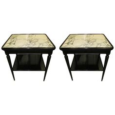 Pair of  French Ebonized Marble-Top Nightstands with Shelves 1