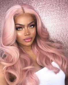 Blonde Hair With Pink Highlights, Pink Blonde Hair, Pink Wig, Platinum Blonde Hair, Baby Pink Hair, Blonde Natural Hair, Lace Front Wigs, Lace Wigs, Hair Colorful