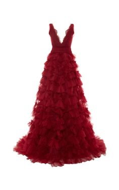 Embroidered V-Neck Tulle Ball Gown by Marchesa for Preorder on Moda Operandi