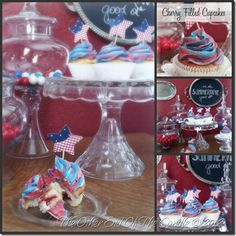 Fourth of July Cupcakes - vanilla with cherry filling, wedding cake frosting - easy!
