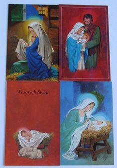 Christmas Polish Greeting Cards & Oplatek - Set Of Ten (10) Cards Vintage Boxed