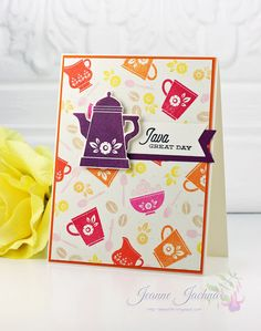 Java Great Day by akeptlife - Cards and Paper Crafts at Splitcoaststampers Coffee Set, Drinking Tea, Stampin Up Cards, Java, Pretty Little, Hot Chocolate, Tea Pots, Stamps, Paper Crafts