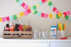 a pretty cool life.: a rainbow ice cream float bar