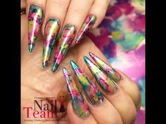 Neon Rainbow Flame Nails | DIY Fire Nail Art Party Design Tutorial - YouTube