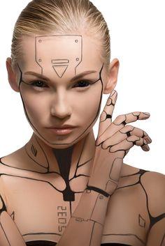 human robot How to Create a Human Cyborg Photo Manipulation in Adobe Photoshop Art Cyberpunk, Cyberpunk Aesthetic, Cyberpunk Character, Human Cyborg, Female Cyborg, Robot Makeup, Cyborg Costume, Futuristic Makeup, Cyborg Girl