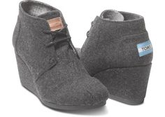TOMS Grey Wool Women's Desert Wedges--LOVE them! I may just have to buy the black and camel. So comfortable and I love the TOMS concept of giving to a child in need, so how can one go wrong purchasing their cute shoes:)